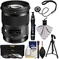 Sigma 50mm f/1.4 ART DG HSM Lens with 3 Filters + Tripod + Kit for Canon EOS 6D, 70D, 7D, 5DS, 5D Mark II III, Rebel T5, T5i, T6i, T6s, SL1 Camera