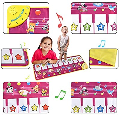 ALANGDUO Kids Musical Mats, Music Piano Keyboard Dance Floor Mat Animal Carpet Blanket Touch Playmat Early Education Toys for Toddlers Girls Boys 39