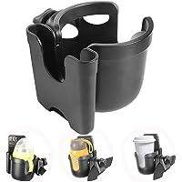 Hemousy Universal Cup Holder,2in1 Stroller Bottle Holder with Phone Holder 360 Degrees Rotation Large Caliber Drink Rack…