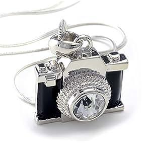 "PammyJ Silvertone Miniature Camera Pendant Crystal Stud Necklace, 18"""