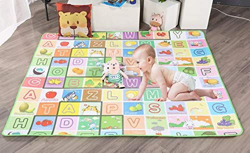 TIB Waterproof Double Side Baby Play Crawl Floor Mat for Kids Picnic School Home (Large Size - 6 X 4 ft, Multicolour) with Zip Bag to Carry