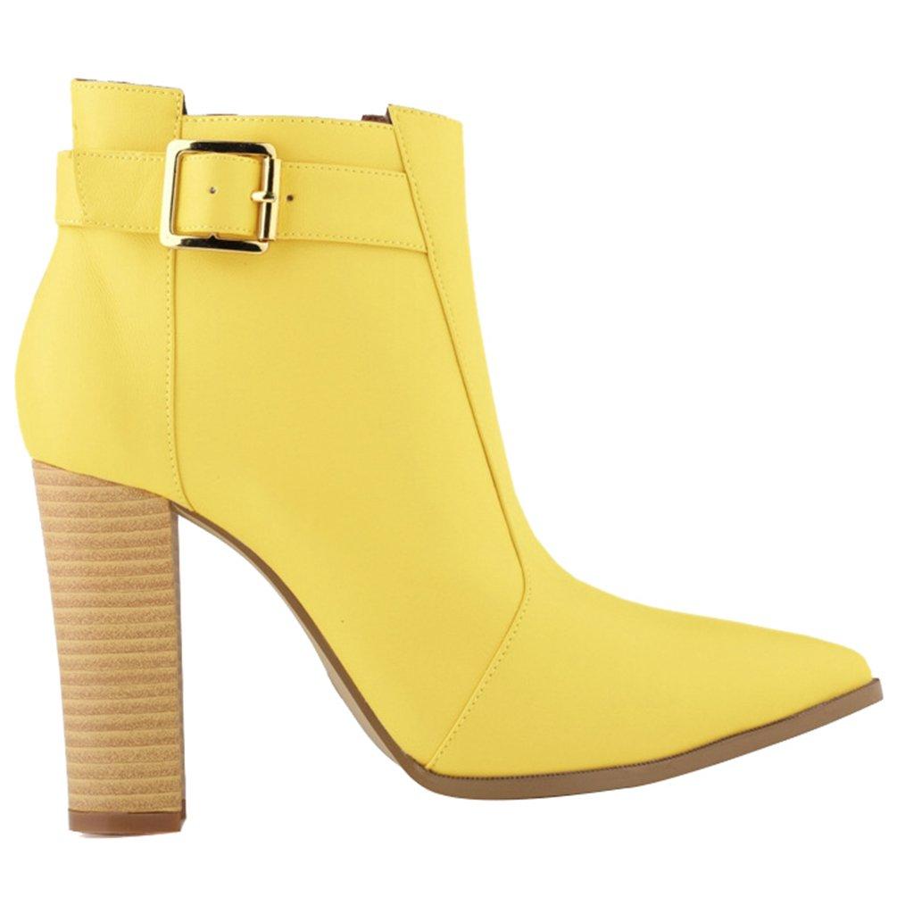 WanYang Frauen Boots High Heel Damen Stiefeletten Absatz Ankle Fruuml;hling und Herbst42 EU|Gelb