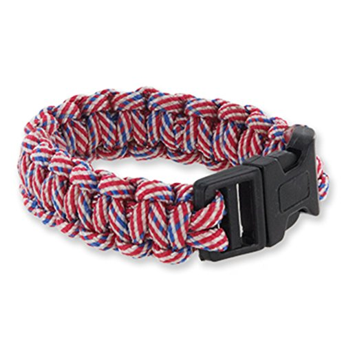 DM Merchandising USA Patriot Pride Paracord Wristband Bracelet, One Size Fits Most, Red, White, Blue, Flag -