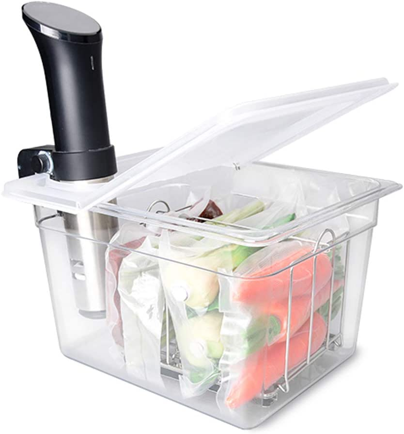 Everie Sous Vide Container 12 Quarts with Universal Collapsible Hinged Lid, Compatible with Anova All Models, Breville Joule, Wancle, Instant Pot Cookers (Container with Plastic Lid and Rack)