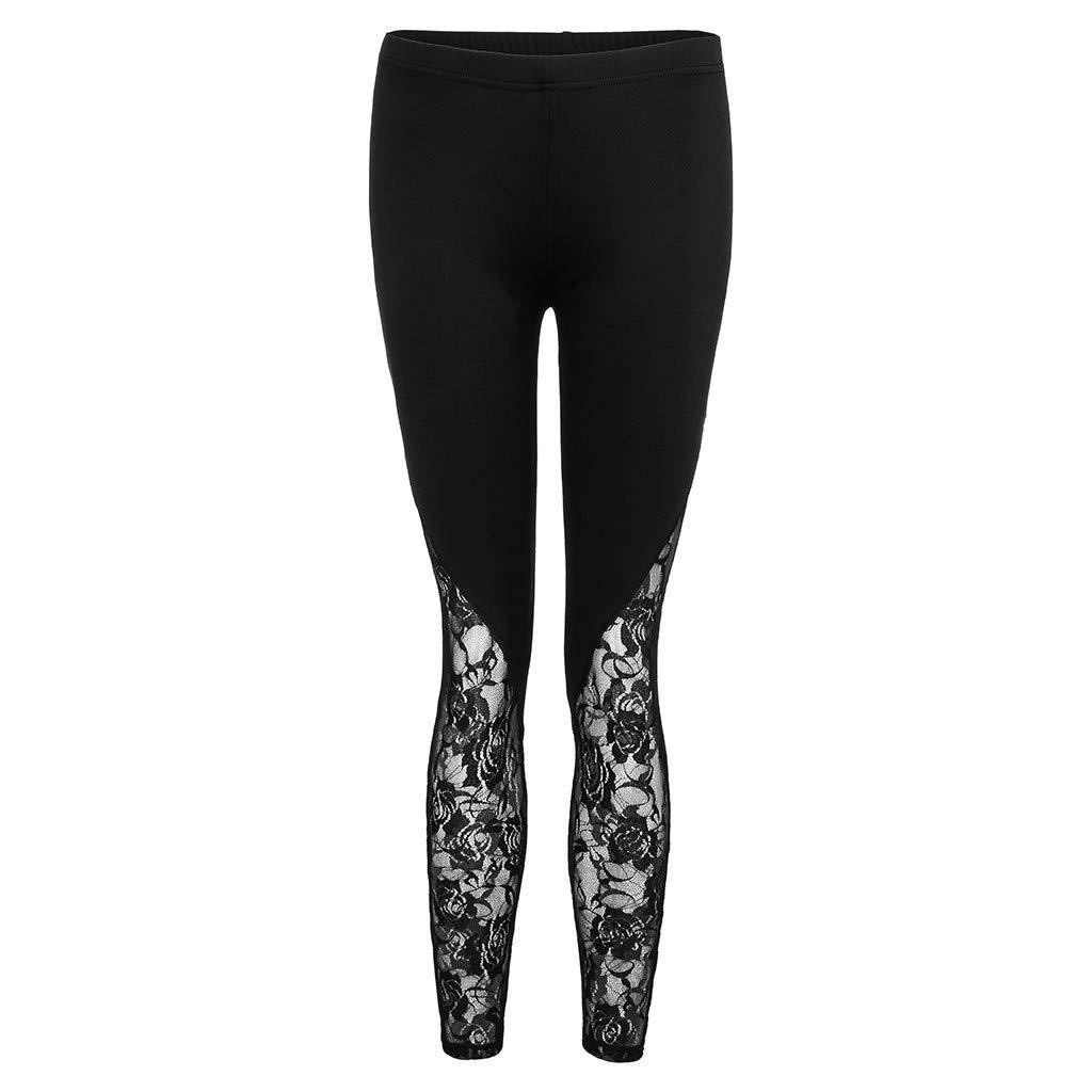 Allywit Fashion Women Lace Plus Size Skinny Pants Yoga Sport Pants Leggings Trousers Workout Running Leggings Black