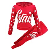 New Girls Star Print Hooded Top & Bottom Kids Tracksuit Jogging Set Loungewear Outfit Age 7-13 Years (Red, 13 Years)