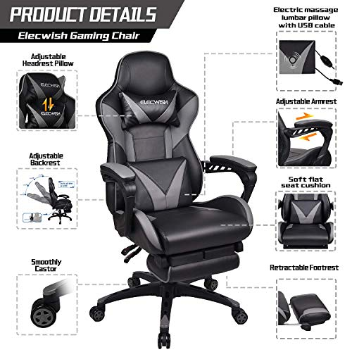 ELECWISH Massage Gaming Chair Grey - Ergonomic Office Gaming Chair for Computer with Footrest and Lumbar Support
