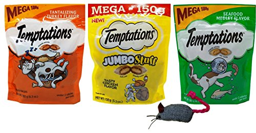 Temptations Mega Size Low Calorie Cat Treats 3 Flavor Variety with Toy Bundle, 1 Each: Tantalizing Turkey, Tasty Chicken Jumbo Stuff, Seafood Medley (5.3-6.3 Ounces)
