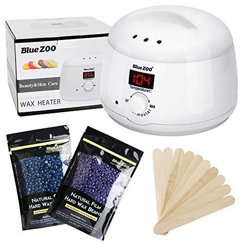 Wax Warmer Hair Removal Kit, Pandawill Rapid Melt Hair Removal Hot with Digital Display Electric Wax warmer Heater+ 2 Pack 250g Flavors Hard Wax Beans+10 Wax Applicator Sticks (White)
