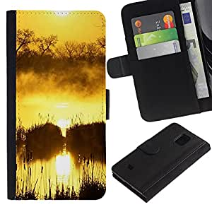 iBinBang / Flip Funda de Cuero Case Cover - Sunset Beautiful Nature 100 - Samsung Galaxy S5 Mini, SM-G800, NOT S5 REGULAR!
