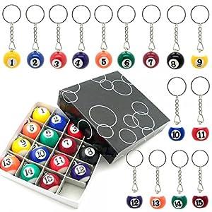 1 SET Schlüsselanhänger Schlüsselring Schlüsselband Billiard Billardkugeln...
