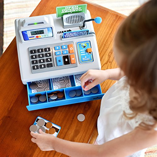 51v1JScyoiL - Ben Franklin Toys Talking Toy Cash Register - store learning play set with 3 languages, paging microphone, credit card, bank card and play money