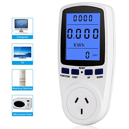 Digital LCD Energy Monitor Power Meter, Zerone Electricity Usage Power Consumption Socket Meter Voltage Amps Tester with Digital LCD Display 110V-130V US Plug White