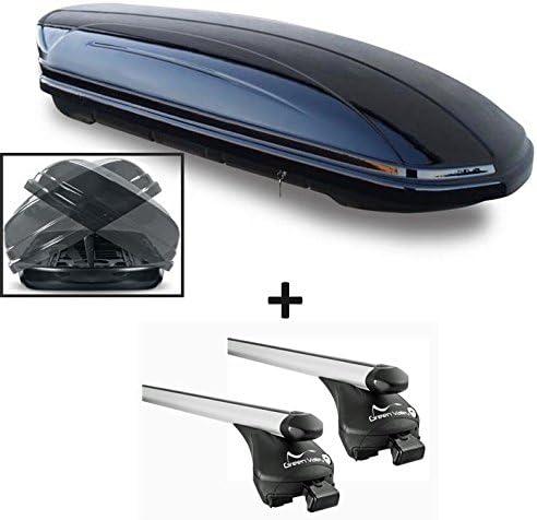 VDP Skibox schwarz glänzend MAA 580 Duo beidseitig aufklappbar 580 Liter abschließbar + Alu-Relingträger Dachgepäckträger Quick für aufliegende Reling im Set für Alu Audi A3 Sportback ab 2004