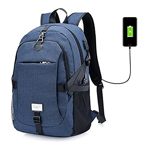 Amazon.com: PADY-Outdoor Casual Durable Canvas Laptop Backpack Travel Computer Bag for Women Men Unisex Anti Theft College School Bookbag Business Bags with ...