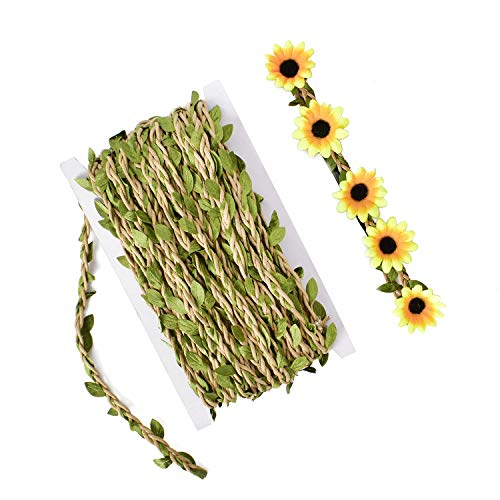 HUIANER Leaf Trim Ribbon 5MM with Artificial Green Leaves, 65 Feet Braided Decorated Vine for Wedding, Gift Wrapping, DIY Headband Wreath Crown Flower Accessories(Khaki)