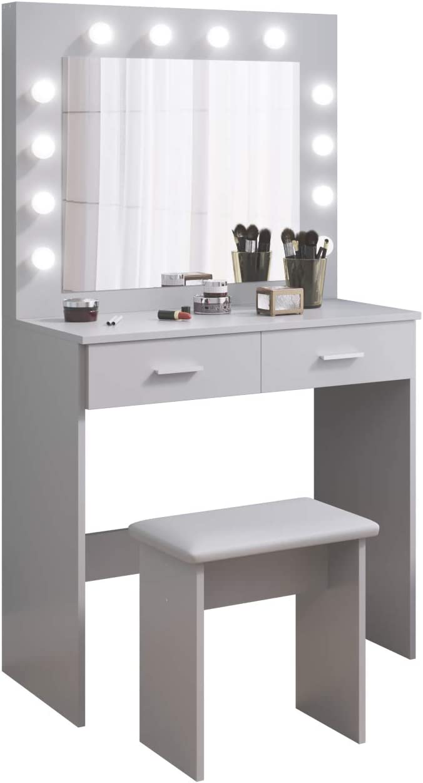 Tocador Mesa de Maquillaje con Hollywood LED Espejo, 2 Cajones Grandes y Taburete, 80x40x140cm