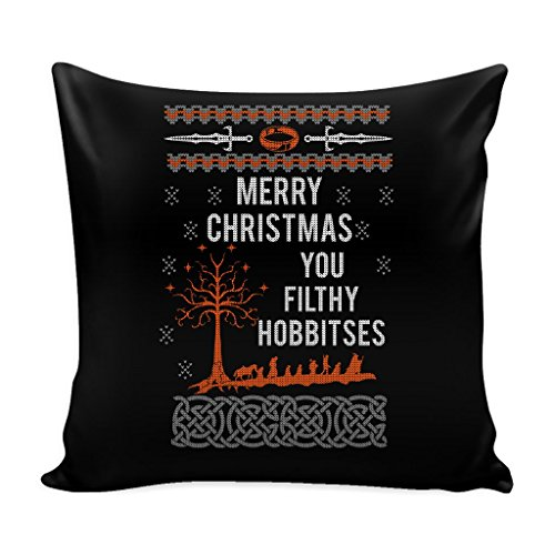 JoyHip.com Merry Christmas You Filthy Hobbitses Lord Of The Rings Festive Funny Ugly Christmas Holiday Sweater Decorative Throw Pillow Cases Cover(4 Colors)