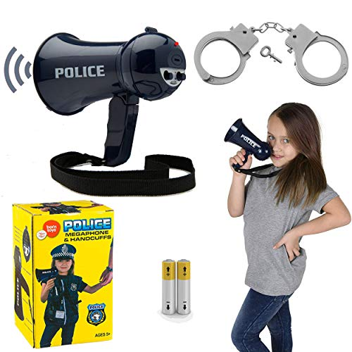 Born Toys Police Megaphone and Handcuffs for Policeman Costume or FBI,SWAT,and Detective Role Play (Batteries Included) -