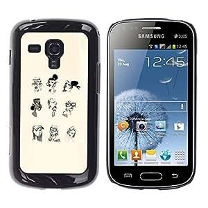 Shell-Star Arte & diseño plástico duro Fundas Cover Cubre Hard Case Cover para Samsung Galaxy S Duos / S7562 ( Portrait Woman Profile White Black Pencil Art )