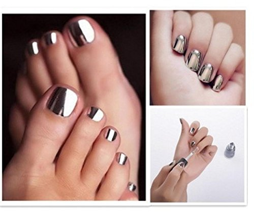 LtrottedJ Mirror Nail Polish Plating Silver Paste Metal Color Stainless Steel (Glod)