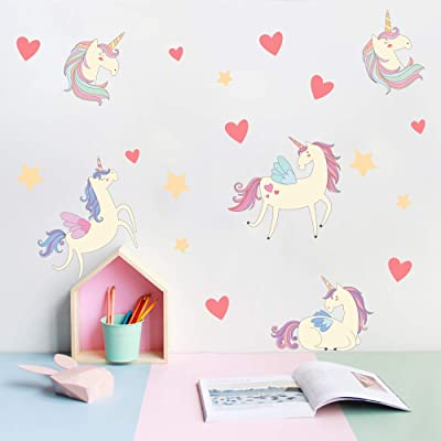 Unicorn Wall Decals, Peel and Stick Unicorn Bedroom Decor for Gilrs Kids Baby Nursery Birthday Party Favor: Arts, Crafts & Sewing