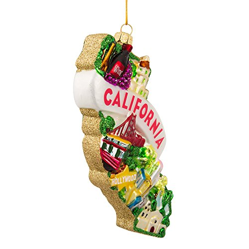 Kurt Adler Glass California Ornament, 5-Inch