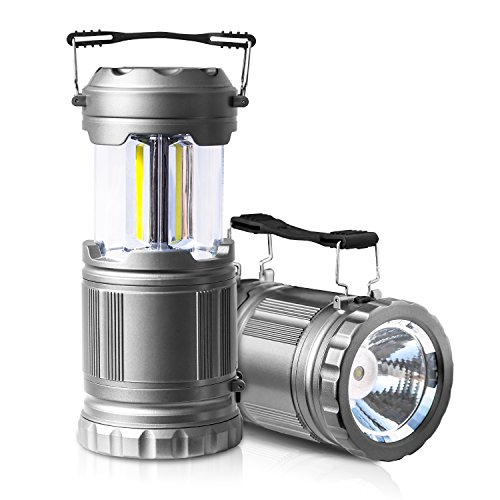 2 Pack LED Camping Lantern Flashlights – ULTRA BRIGHT – PUAIDA Portable Emergency Tac Lantern Lights for Camping, Car, Shop, Attic, Garage(Collapsible)