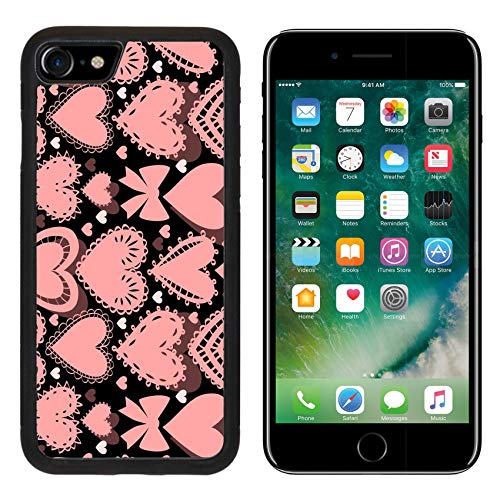 Price comparison product image Liili Premium Apple iPhone 8 Aluminum Backplate Bumper Snap Case Image ID: 17060410 Crochet lacy Hearts on Black Seamless Pattern Vector