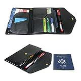 All-In-One Large Capacity RFID Blocking Travel Wallet - Multi-Purpose Passport Holder and Organizer (Black)