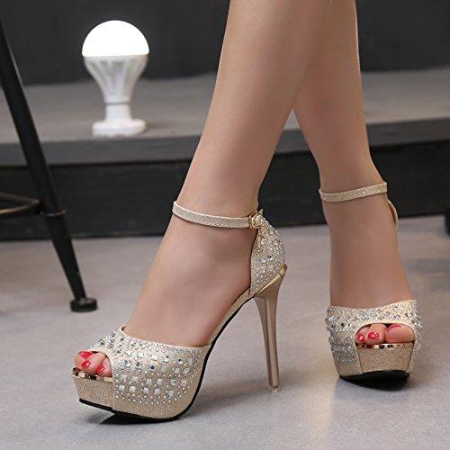 12cm Super Sandalen Hochzeit Schuhegoldene Wasser Bohren