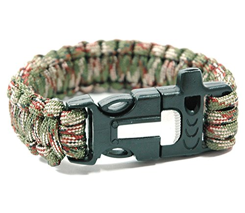 550-Paracord-Survival-Bracelet-4-in-1-Fire-Starter-Knife-Whistle-Camping-Gear-Buckle
