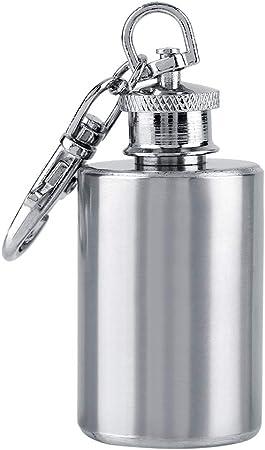 Frasco de alcohol Frasco de licor de acero inoxidable de 1 oz A prueba de fugas Buen sellado Botella de vino Caldera Pequeño tamaño Mini Contenedor de almacenamiento de alcohol con llavero 30 ml