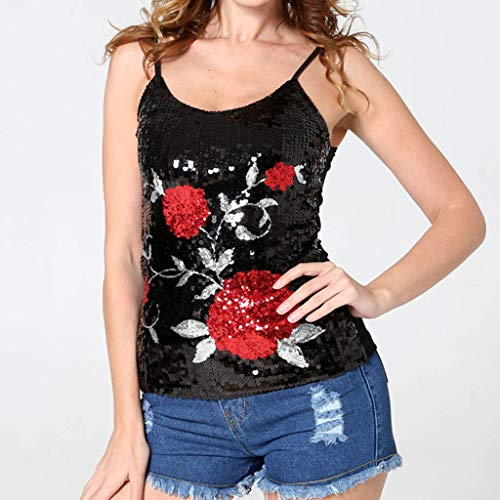 Women Ladies Nightclub Sexy Sequins Eagle Pattern Sling Vest Top