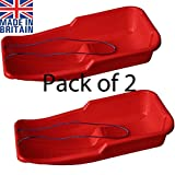 Easy Shopping 2 x RED Heavy Duty Large Adults Kids Children Snow Sledge Toboggan Sledge Rope Sled Play Snow Ice