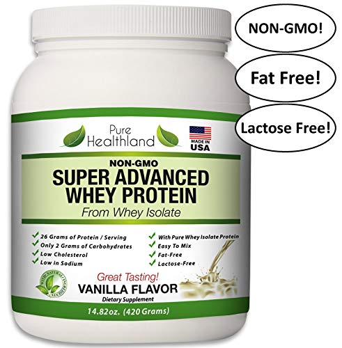 Non GMO Fat Free Whey Protein Isolate Powder Vanilla Flavor Diet Supplements for Men, Women and Seniors. Lactose Free. Best Tasting. Made in USA