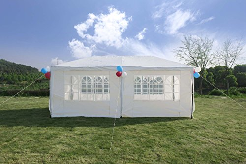 GOJOOASIS Improved Version Canopy Tent Wedding Party Tent with Metal Connectors Outdoor Gazebo Heavy Duty White 10' x 20' with 6 (Plastic Party Tents)