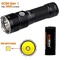 ACEBEAM EC50 GEN Ⅱ LED CREE XHP70 5000K Rechargeable Max Output 3000lumens Flashlight with 5000mAh 26650 Rechargeable Battery Quick Charger (EC50 5000K)