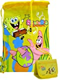 Casual Spongebob & Patric Drawstring Bag Yellow & Wallet