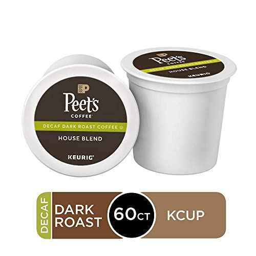 Peet's Coffee Decaf House Blend, Dark Roast, 60 Count Single Serve K-Cup