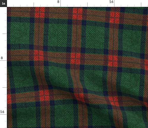 Dark Green And Red Plaid Fabric - Traditional Tartan Holiday Christmas Wool Festive Cosplay Wrapping Cloth Blanket Print on Fabric by the Yard - Eco Canvas for Durable Upholstery Home Decor