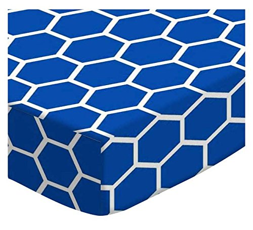 SheetWorld Extra Deep Fitted Portable Mini Crib Sheet - Royal Blue Honeycomb - Made In USA by SHEETWORLD.COM