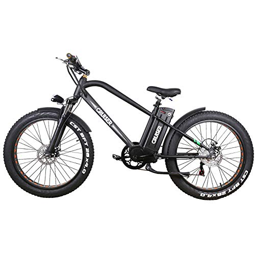Nakto Fat Tire Electric Super Cruiser Bicycle 500W – Black – 48V 12Ah