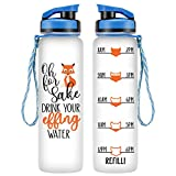 LEADO 32oz 1Liter Motivational BPA Free Water Bottle with Time Marker - Oh for Fox Sake Drink Your Effing Water - Funny Best Friend, Coworker, Mom Birthday Gifts for Women - Drink More Water Daily