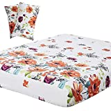 Vaulia Lightweight Microfiber Sheets, Flower Printed Pattern, Red/Orange Full Size, 3-Piece Set (1 Fitted Sheet, 2 Pillowcases)