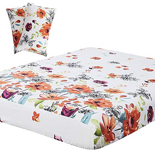 Vaulia Lightweight Microfiber Fitted Sheet, Flower Printed Pattern, Red/Orange Queen Size, 3-Piece -