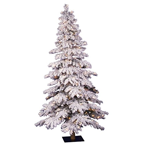 Vickerman Pre-Lit Flocked Spruce Alpine Tree with 250 Clear Dura-Lit Lights, 5-Feet, Flocked White on Green (Pre Lit Potted Christmas Trees)