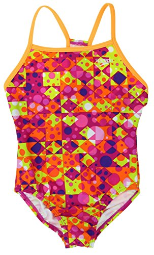Speedo Girls Thin Strap One Piece Swimsuit Diamond Dot Si...