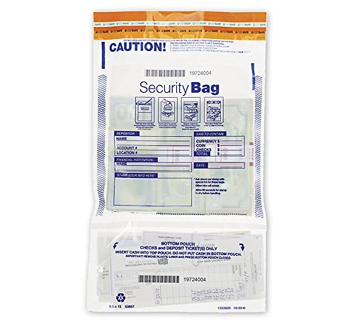 Abc Security Vertical Twin Dual (Twin) Pocket Bank Deposit Bags, Release liner Receipts -100 Bags- 9 1/2 x 15'