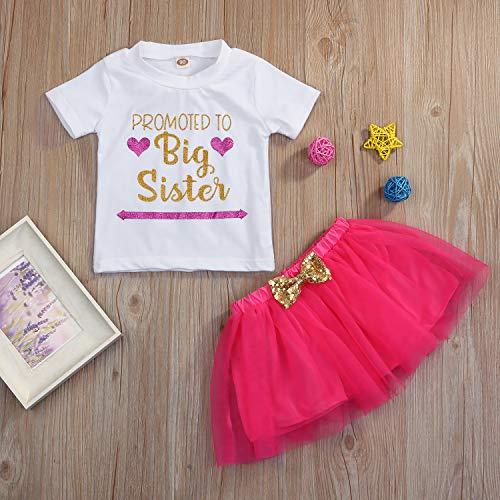 68cdf2ccfe Kids Toddler Baby Girls Dress Outfit Big Sister Short Sleeve T-Shirt  Top+Bowknot